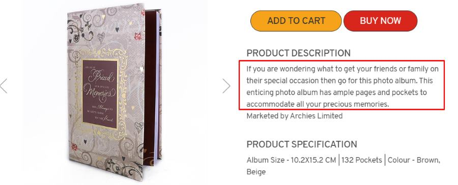 album product copy