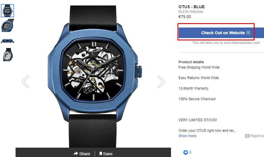 klein relógios loja do facebook