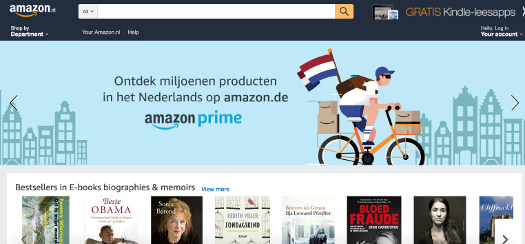 Amazon's landing page for Netherlands